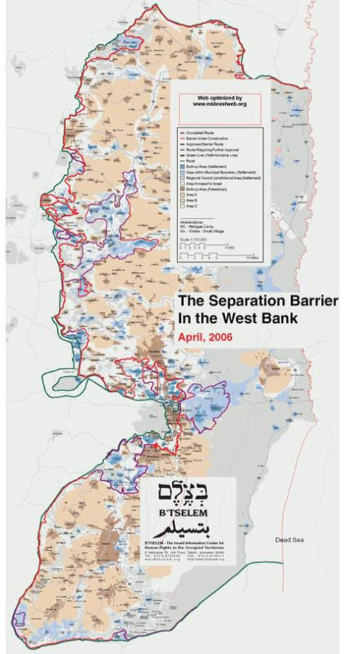 B'Tselem map; red/purple lines delineate existing and planned security fence
