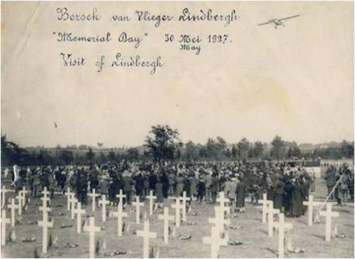 Lindbergh flying over the American cemetery at Flanders Field, Belgium