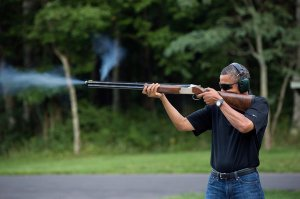 Obama shooting skeet; White House photo, Pete Souza