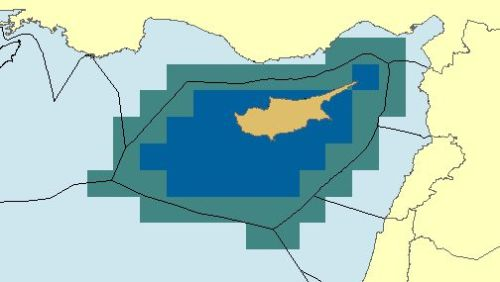 Representation of Eastern Med EEZ boundaries (unofficial).  See note.