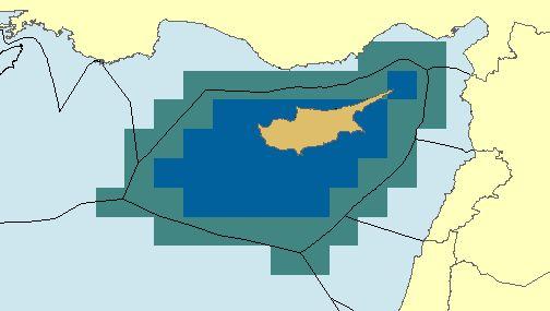 Representation of Eastern Med EEZ boundaries (unofficial).  See note.