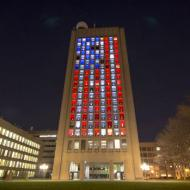 MIT's Green Building lit up as the US flag, 15 April 2013 (Twitter)