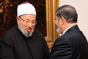 Muslim Brothers Yusuf al-Qaradawi and Mohammed Morsi