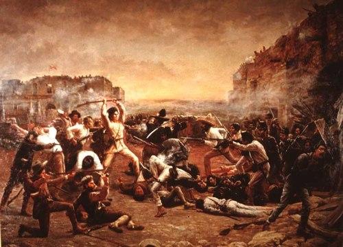 "Davy Crockett in mid-fight (R. J. Onderdonk's ""Fall of the Alamo,"" 1903)"