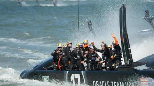 Oracle Team USA wins the Americas Cup.  UPI/Terry Schmitt