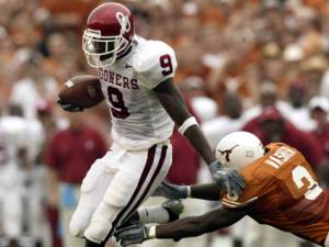 Sooner All-American WR Mark Clayton, who caught for 190 yards in the 2003 OU victory over Texas (Sooners 65-Horns 13), which TOC viewed from the Persian Gulf on SS Nimitz