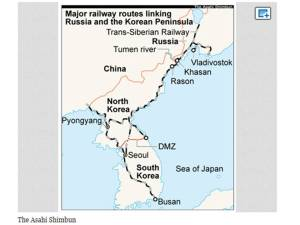 Rail line from Russia to North Korea (port of Rajin located at Rason). Asahi Shimbun map.