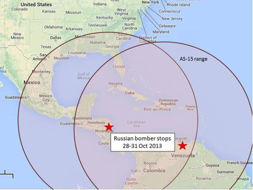 Threat range of the AS-15 from Central American air space (Google map, author annotations)