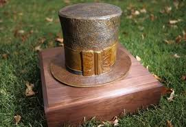 The bronze hat, ready for its close-up.