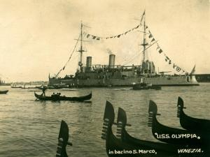USS Olympia at dress ship in Venice, IT after WWI