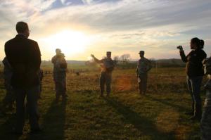 Briefing during terrain walk at Gettysburg, U. Ohio ROTC