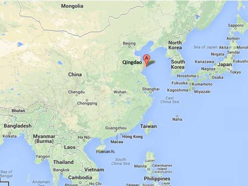China overview; Qingdao naval base is Liaoning's home port. (Google map; author annotation)