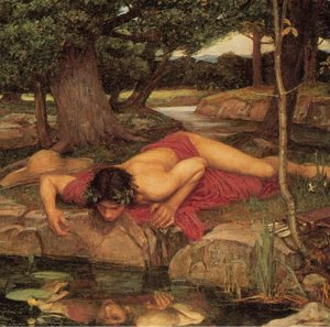 """Narcissus (detail from """"Echo and Narcissus,"""" by John W. Waterhouse, 1849-1917)"""