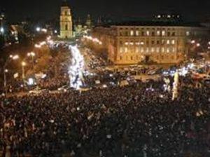 Sunday night in St Michael's Square, Kiev