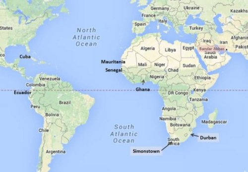 Iranian ships could arrive in South Africa first week of February, (Google map; author annotation)