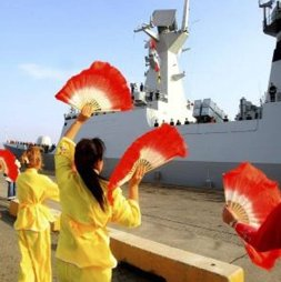 Chinese frigate Yancheng, thrilling the ladies in Cyprus. (Reuters photo.)