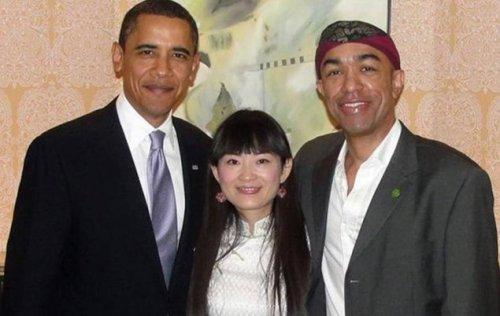 Obama with Mark Obama Ndesandjo and wife.