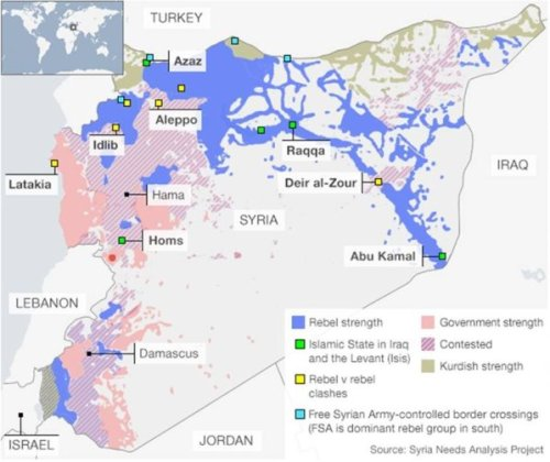 Map 1. Map credit: Syria Needs Analysis Project (via BBC)