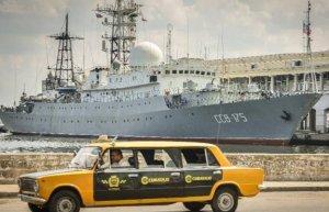 Russian intel ship pops up in Havana. (Image credit AFP)