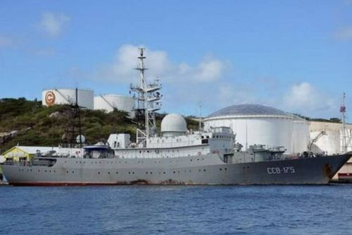 The Russian AGI in Curacao on 30 January. (Image via @RussianNavyBlog on Twitter)