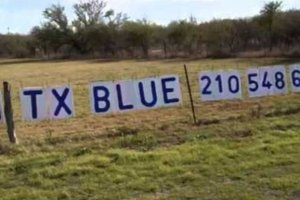 "Image via Fort Bend Democrats (who, bless their hearts, love this display because it involved ""recycling"")."