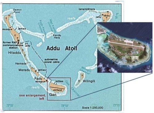 Gan Island and international airport, Addu Atoll, Maldives.