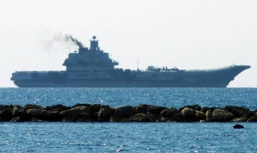 Russian carrier Admiral Kuznetsov departing Limassol, CY on 4 March.