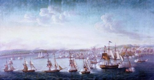 US Navy bombarding Tripoli, 3 Aug 1804. The big frigate on the right is USS Constitution, flagship of Commodore Edward Preble. Painting by Michele Felice Cornè (1752–1845)