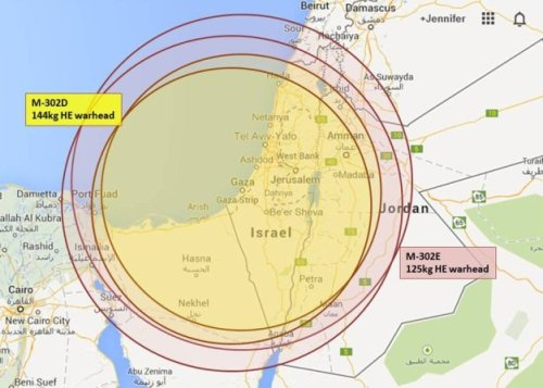 Ranges of the highest-threat variants, Syrian M-302 artillery rocket.  Assumed launch from Gaza. (Google map; author annotation)