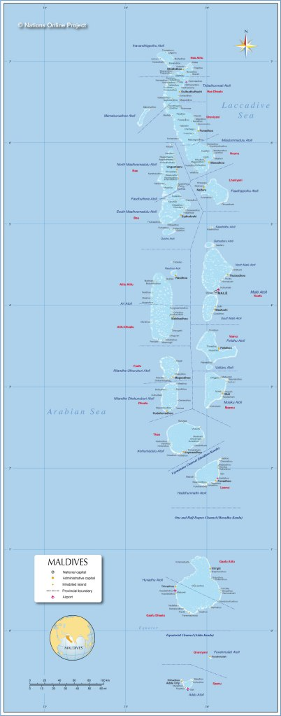 The Maldives.  Dhaalu and Addu Atolls in the south.  Male Atoll in center north.