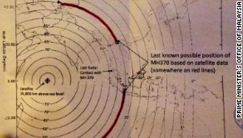 """Graphic 2. """"Arcs"""" showing potential location of MH370 plane during """"ping"""" exchange with Inmarsat satellite. (Government of Malaysia graphic)"""