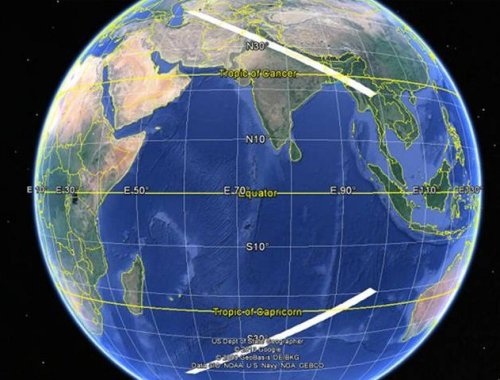 Probability arc/areas for MH370 plane during last ping at 8:11 AM. (Graphic via PPrune forum; see footnote text for link)