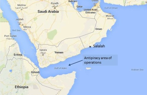 The Iranian 29th Fleet's reported operating area, including Salalah, Oman. Doesn't compute with Iranian claims that 29th Fleet headed for the Atlantic. (Google map; author annotation)