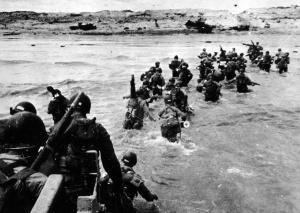 Landing at Utah Beach, June 1944. (US National Archives via Boston.com)