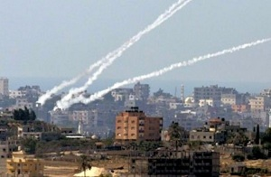 Rockets launched from Gaza at Israel. (IDF photo)