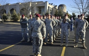 Ohio National Guard unit in formation at the Noor Islamic Center and mosque in Hillard, OH, definitely not sponsoring a religion.  (Image: AP, Eamon Queeney via Columbus Dispatch and Akron Beacon Journal)