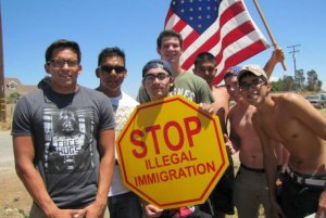 Marine Corps recruits demonstrate on 7 July for secure borders and the rule of law. (Image via Breitbart)