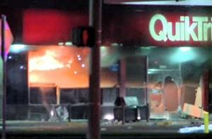 Quik Trip on fire in Ferguson, MO.