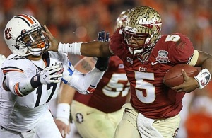 FSU's Jameis Winston in Heisman form for the BCS Championship Bowl versus Auburn. 6 Jan 2014 (Image: USATSI)