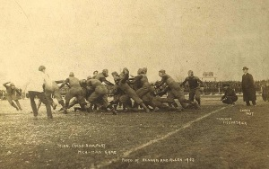 Minnesota at Michigan in 1902 (technically, before there was a Little Brown Jug).  Michigan won 23-6.  (Image: Wikimedia Commons via MichiganRadio.org)