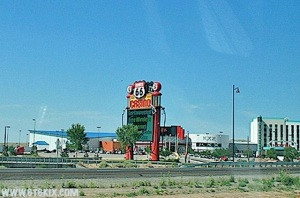 Route 66 Casino Hotel on I-40, official sponsor of the New Mexico-New Mexico State Rio Grande Rivalry trophy. (Image: 6t6kix.com)