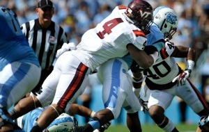 Hokie DE Ken Ekanem, a team and NCAA leader with 5 sacks this season, announces his presence with authority. (Image via The Key Play)