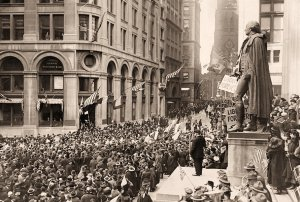 Armistice Day, 11 November, 1918, on Wall Street. (Image: Wikipedia)