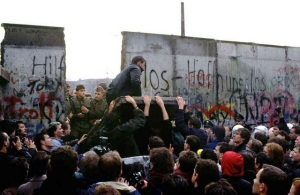 Germans tear down the Berlin Wall, November 1989. (Image via REMC.org)
