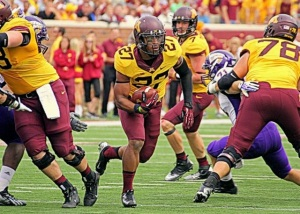 Golden Gopher RB David Cobb (1131 yards on the season) tramples the Western Illinois defense. (Image via Gold & Gopher)