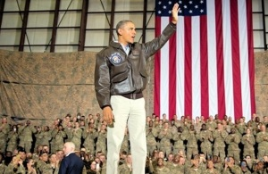 Obama blesses the troops in Bagram, May 2014. (White House photo)