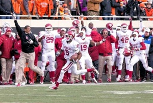 Sooner WR Jalen Saunders runs it in for a TD in Bedlam 2013. Saunders is now a New Orleans Saint. (Image: Richard Rowe, USA Today via SportsDay DFW)