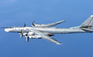 Tu-95MS Bear H intercepted in April 2014 by an RAF Typhoon.  (Image via The Aviationist)