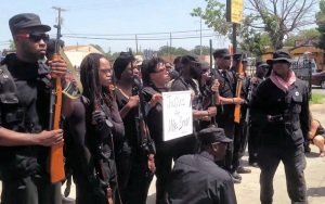 Huey P. Newton Gun Club drills in Dallas. (Image via YouTube)