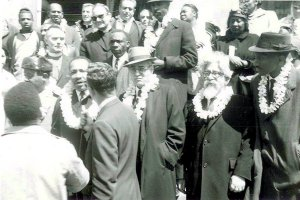 "Rabbi Heschel with MLK, Jr. on the march from Selma in 1965. Heschel is second from right. (Image"" Duke University, Abraham Heschel papers archive)"